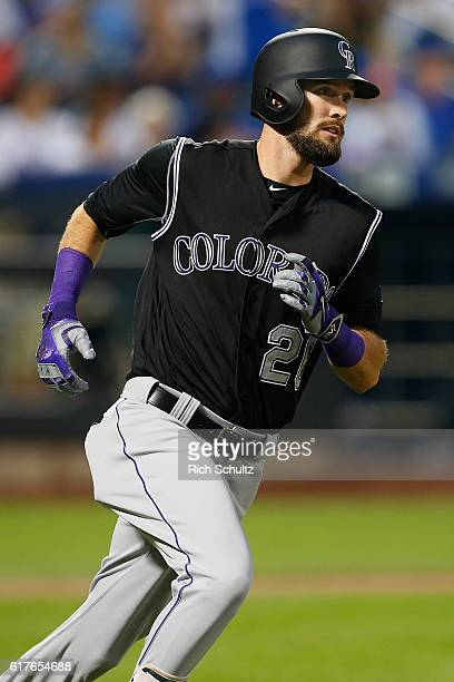 David Dahl of the Colorado Rockies in action during a game against the New York Mets at Citi Field on July 29 2016 in the Flushing neighborhood of...
