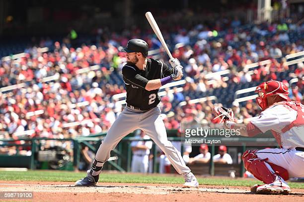 David Dahl of the Colorado Rockies prepares fora pitch during a baseball game against the Washington Nationals at Nationals Park on August 27, 2016...