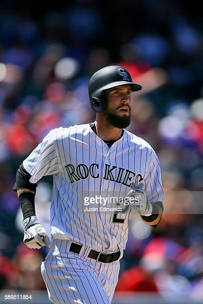 David Dahl of the Colorado Rockies runs against the Texas Rangers at Coors Field on August 9 2016 in Denver Colorado