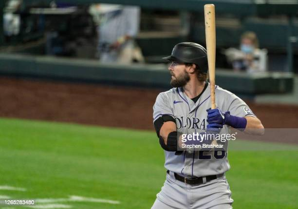 David Dahl of the Colorado Rockies waits for a pitch during an at-bat in a game against the Seattle Mariners at T-Mobile Park on August 2020 in...