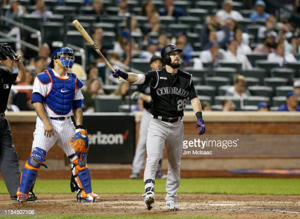 David Dahl of the Colorado Rockies watches the flight of his eighth inning two run home run against the New York Mets at Citi Field on June 07, 2019...
