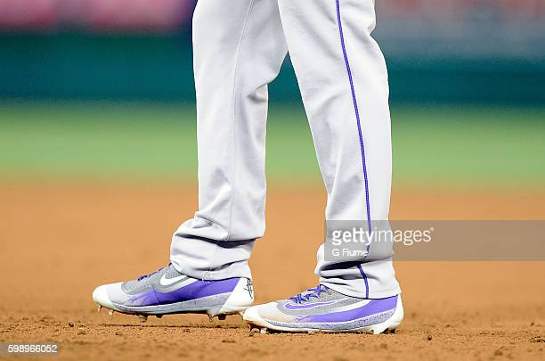 David Dahl of the Colorado Rockies wears Nike shoes during the game against the Washington Nationals at Nationals Park on August 26 2016 in...