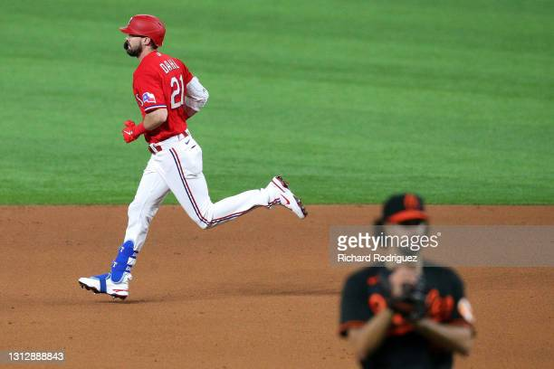 David Dahl of the Texas Rangers runs the bases after hitting a solo home run off of Jorge Lopez of the Baltimore Orioles in the fifth inning at Globe...