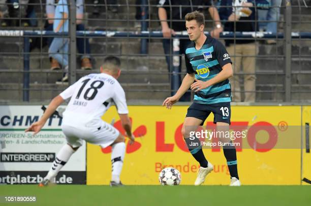 David Danko of SV Babelsberg 03 and Lukas Kluenter of Hertha BSC during the friendly match between Hertha BSC and the SV Babelsberg 03 at the...