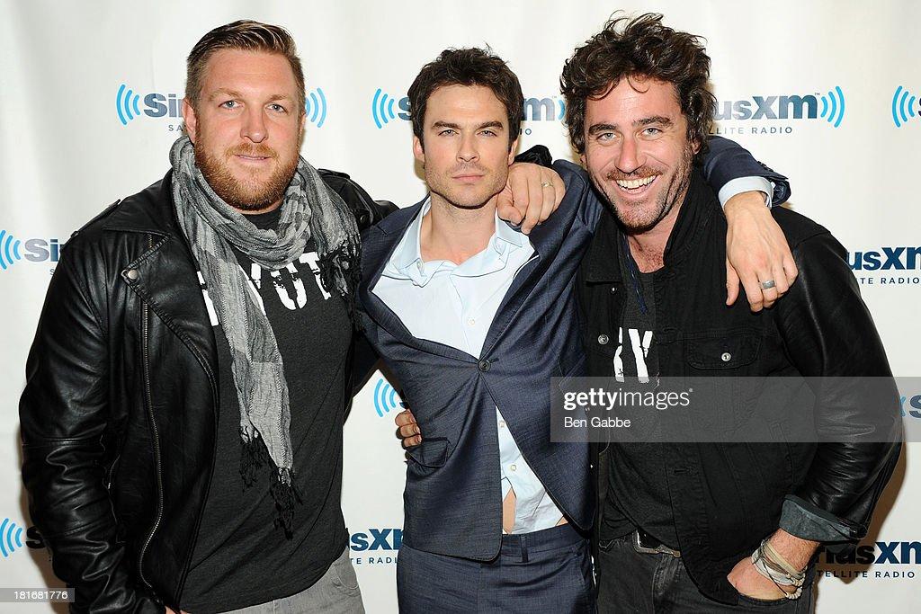 David Darg, Ian Somerhalder and Bryn Mooser pose at SiriusXM Studios on September 23, 2013 in New York City.