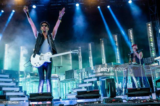 David 'Dave 1' Macklovitch and Patrick 'PThugg' Gemayel of Chromeo performs during Lollapalooza 2018 at Grant Park on August 5 2018 in Chicago...