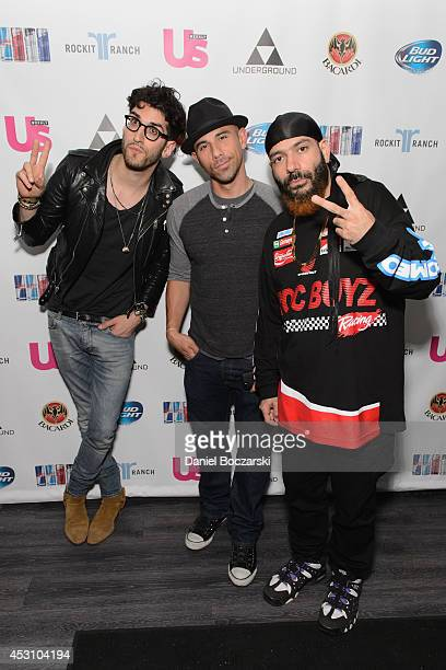 """David """"Dave 1"""" Macklovitch, Billy Dec and Patrick """"P-Thugg"""" Gemayel of Chromeo attend the Lollapalooza Weekend afterparty at The Underground on..."""