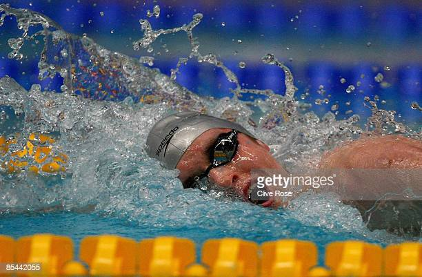 David Davies in action during the Men's Open 400m Freestyle heats during day one of the British Gas Swimming Championships at Ponds Forge on March 16...