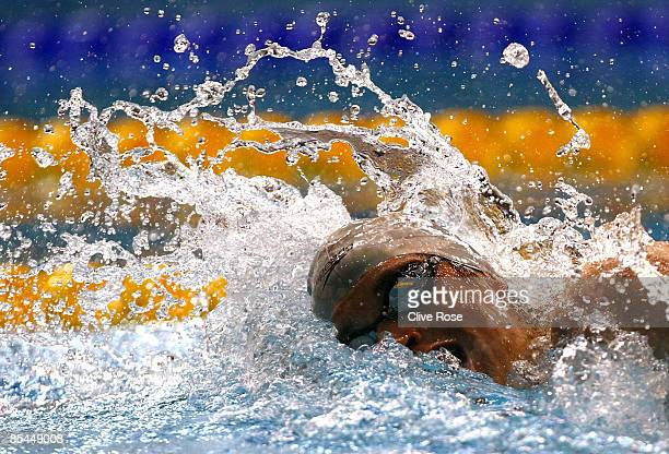 David Davies in action in the Men's Open 400m Freestyle Final during day one of the British Gas Swimming Championships at Ponds Forge on March 16...