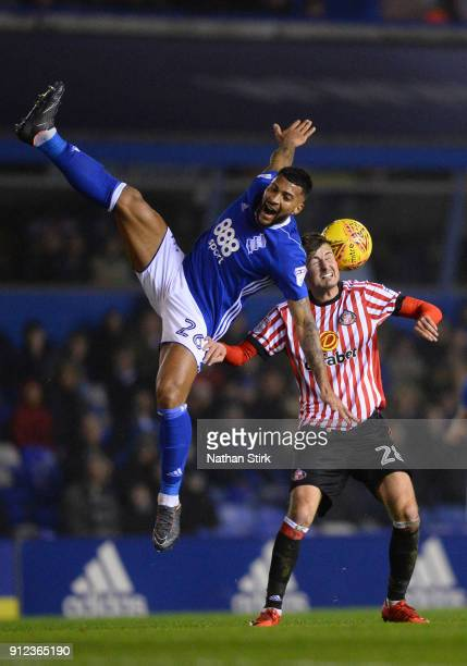 David Davies of Birmingham City and Ethan Robson of Sunderland compete for the ball during the Sky Bet Championship match between Birmingham City and...