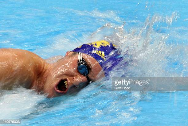 David Davies of City of Cardiff competes in the Men's 1500m Freestyle Heat 4 during day seven of the British Gas Swimming Championships at The London...