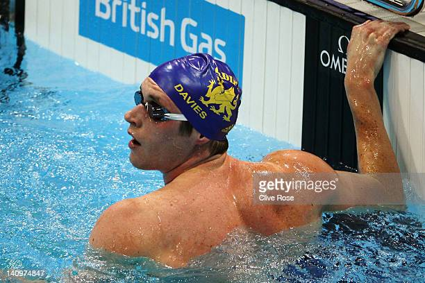 David Davies of City of Cardiff looks to the scoreboard after competing in the Men's 1500m Freestyle Heat 4 during day seven of the British Gas...