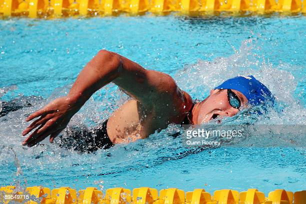 David Davies of Great Britain competes in the Men's 1500m Freestyle Heats during the 13th FINA World Championships at the Stadio del Nuoto on August...