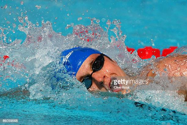 David Davies of Great Britain competes in the Men's 400m Freestyle Heats during the 13th FINA World Championships at the Stadio del Nuoto on July 26...