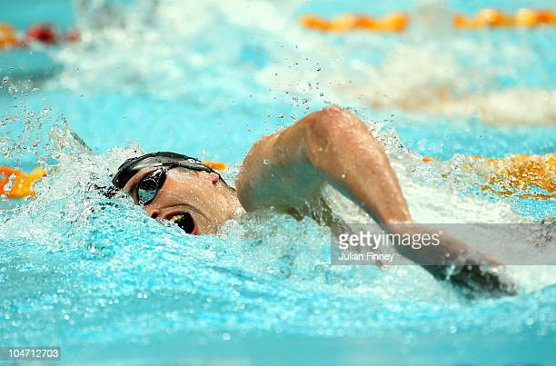 David Davies of Scotland competes in the Men's 400m Freestyle Final at the Dr SP Mukherjee Swimming Complex during day one of the Delhi 2010...
