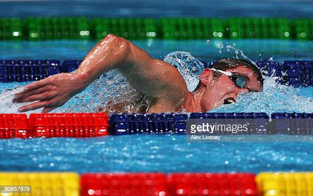 David Davies of United Kingdom competes in the Men's 1500m Freestyle Final during the ninth FINA World Swimming Championships at the MEN Arena on...