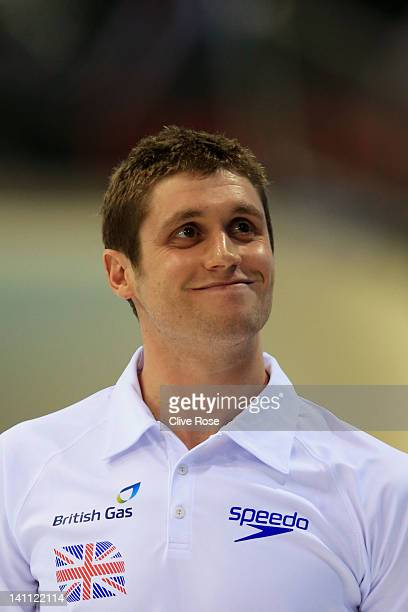 David Davies smiles to the fans following the final race during day eight of the British Gas Swimming Championships at The London Aquatics Centre on...