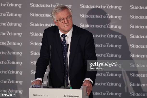 David Davis British Secretary of State for Exiting the European Union speaks at the Sueddeutsche Zeitung Economic Summit on November 16 2017 in...