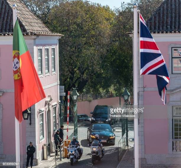 David Davis British Secretary of State for Exiting the European Union arrives escorted by Police motorcyclists in the Portuguese Foreign Ministry to...