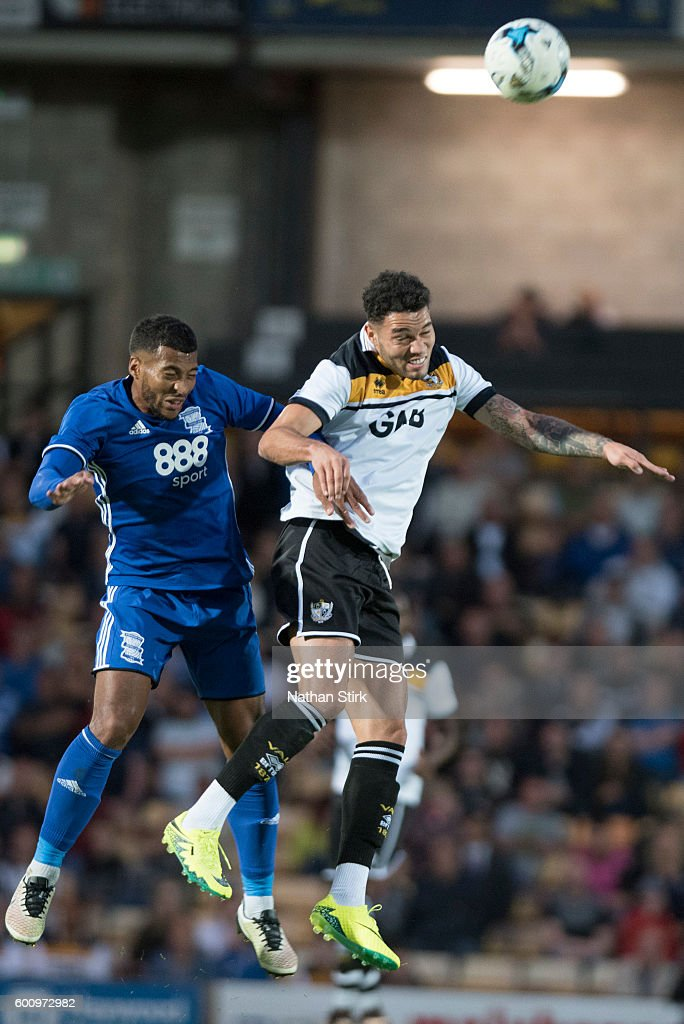 David Davis of Birmingham City and Anton Forrester of Port Vale in action during the Pre-Season Friendly between Port Vale and Birmingham City at Vale Park on July 27, 2016 in Burslem, England.