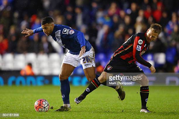 David Davis of Birmingham City and Matt Butcher of Bournemouth compete for the ball during the Emirates FA Cup Third Round match between Birmingham...