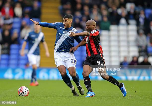 David Davis of Birmingham City and Tokelo Rantie of Bournemouth compete for the ball during The Emirates FA Cup match between Birmingham City and AFC...