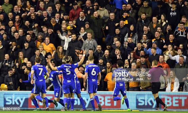 David Davis of Birmingham City celebrates after scoring a goal to make it 02 during the Sky Bet Championship match between Wolverhampton Wanderers...