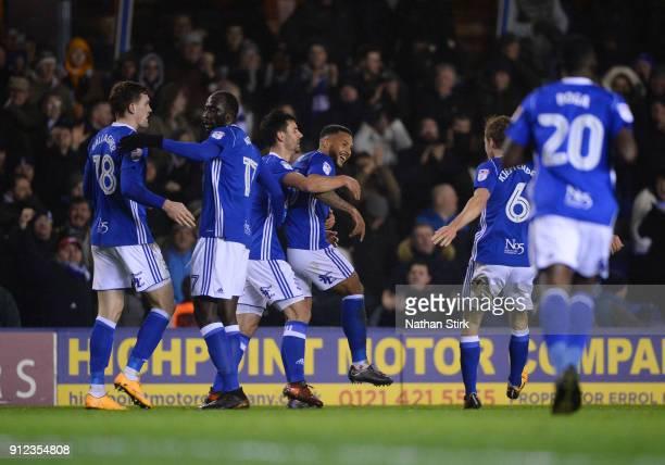 David Davis of Birmingham City celebrates after scoring the first goal during the Sky Bet Championship match between Birmingham City and Sunderland...