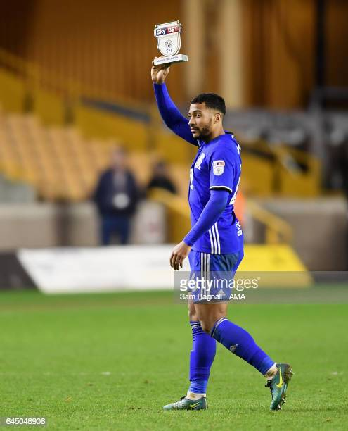 David Davis of Birmingham City celebrates at full time with his man of the match award during the Sky Bet Championship match between Wolverhampton...