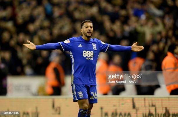 David Davis of Birmingham City taunts the fans of Wolverhampton Wanderers during the Sky Bet Championship match between Wolverhampton Wanderers and...