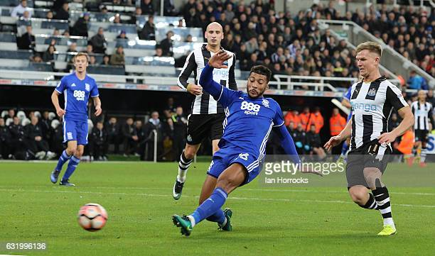 David Davis of Birmingham has his shot blocked by DeAndre Yedlin of Newcastle during the FA Cup third round replay between Newcastle United and...