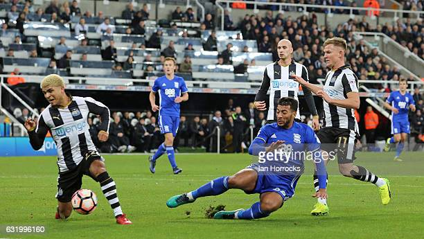 David Davis of Birmingham reacts as he has his shot blocked by DeAndre Yedlin of Newcastle during the FA Cup third round replay between Newcastle...