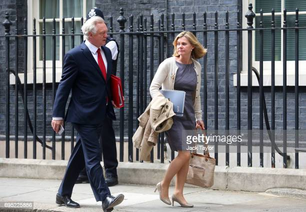 David Davis Secretary for exiting the European Union and Education secretary Justine Greening leaves 10 Downing Street on June 12 2017 in London...