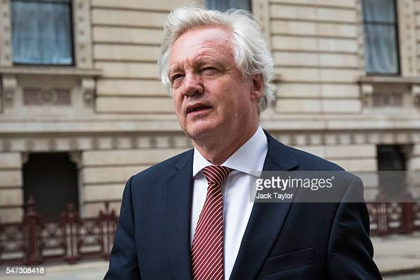 David Davis Secretary of State for Exiting the European Union arrives at the Treasury on July 14 2016 in London England The UK's New Prime Minister...