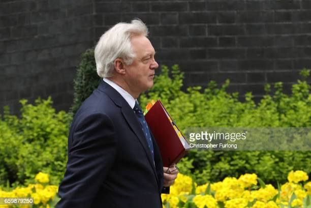 David Davis Secretary of State for Exiting the European Union departs 10 Downing Street on March 29 2017 in London England Later today British Prime...