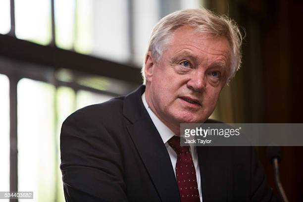 David Davis the former Shadow Home Secretary of the Conservative Party delivers a speech in Westminster on May 26 2016 in London England Mr Davis...