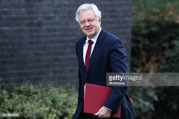 David Davis UK exiting the European Union secretary arrives for a weekly cabinet meeting at 10 Downing Street in London UK on Tuesday Jan 17 2017 The...
