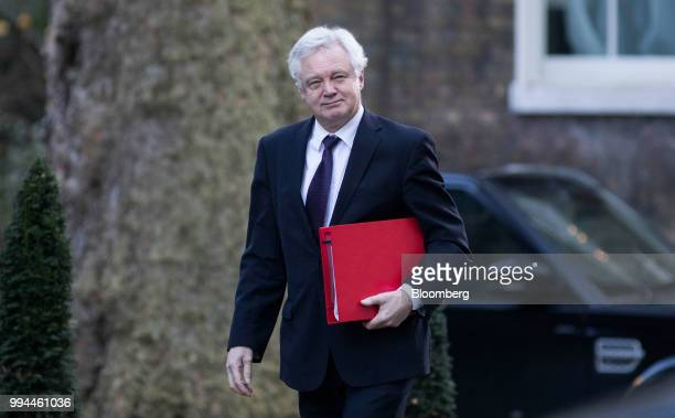 David Davis UK exiting the European Union secretary arrives for a weekly meeting of cabinet ministers at number 10 Downing Street in London UK on...