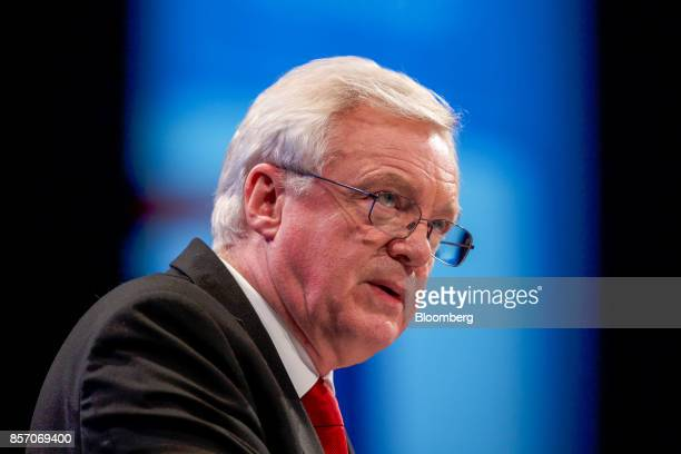 David Davis UK exiting the European Union secretary delivers his speech at the annual Conservative Party conference in Manchester UK on Tuesday Oct 3...