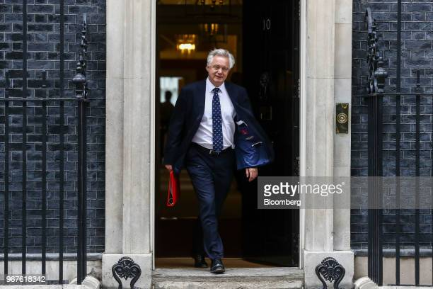 David Davis UK exiting the European Union secretary leaves after attending a meeting of cabinet minsters at number 10 Downing Street in London UK on...
