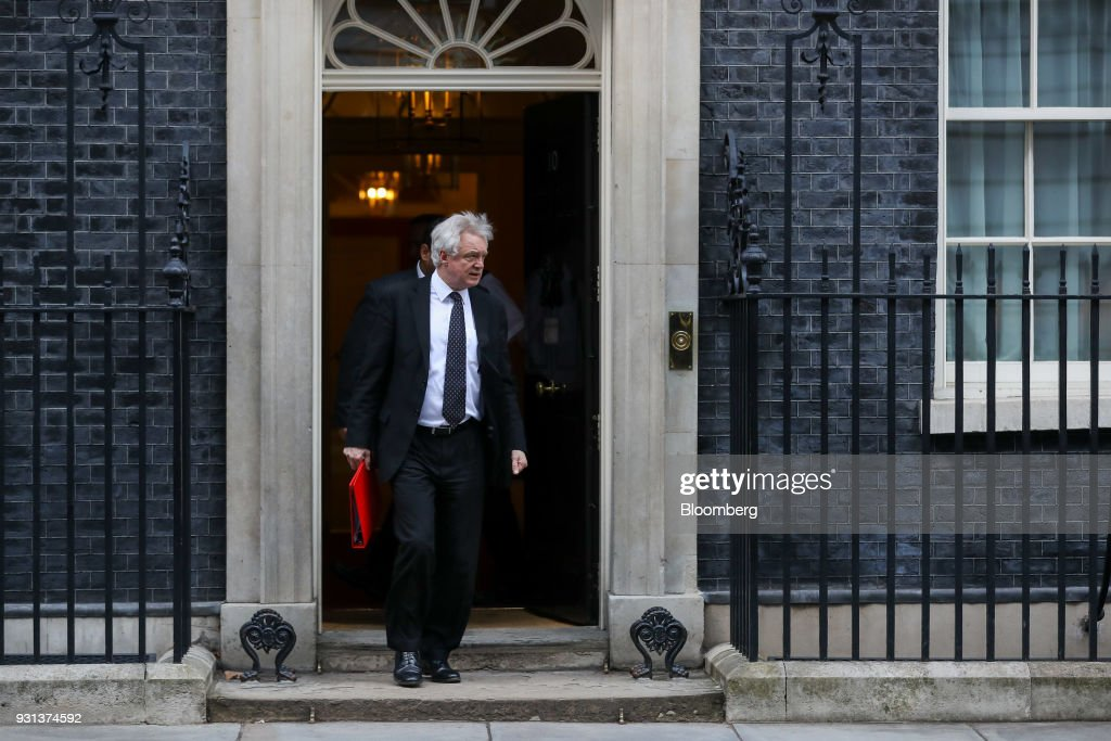David Davis, U.K. exiting the European Union (EU) secretary, leaves following a weekly meeting of cabinet ministers at number 10 Downing Street in London, U.K., on Tuesday, March 13, 2018. U.K. Prime Minister Theresa May publicly accused Russia of a chemical weapon attack on British soil and warned of retaliatory measures that will further strain relations between the West and the Kremlin. Photographer: Simon Dawson/Bloomberg via Getty Images