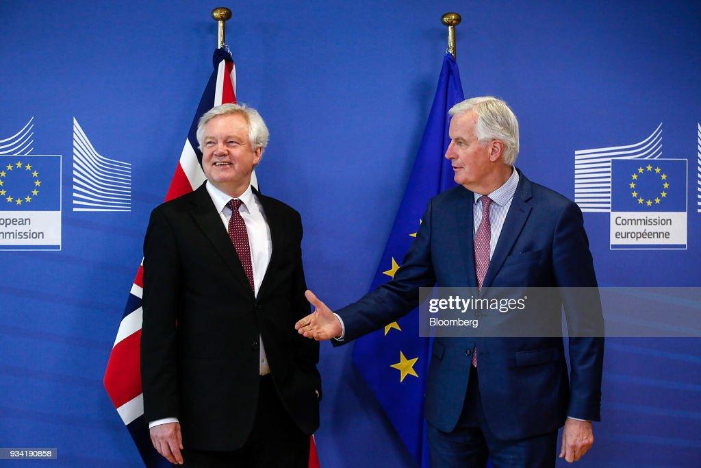 EU's Michel Barnier And U.K.'s David Davis News Conference Following Brexit Transition ArrangementTalks
