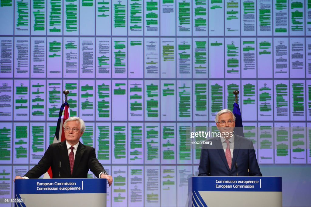 EU's Michel Barnier And U.K.'s David Davis News Conference Following Brexit Transition Arrangement Talks