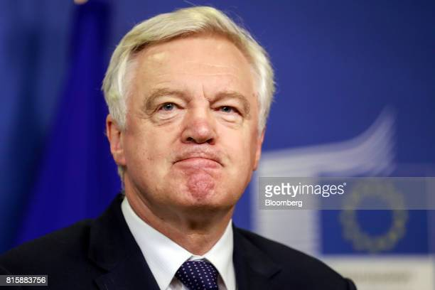 David Davis UK exiting the European Union secretary looks on as he arrives ahead of Brexit negotiations in Brussels Belgium on Monday July 17 2017...