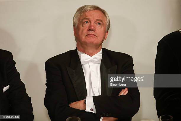 David Davis UK exiting the European Union secretary pauses whilst attending the annual Lord Mayor's Banquet at the Guildhall in the square mile...