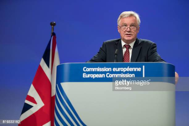 David Davis UK exiting the European Union secretary speaks during a news conference following the second round of Brexit negotiations in Brussels...