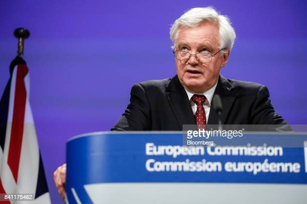 David Davis UK exiting the European Union secretary speaks during a news conference following the third round of Brexit talks in Brussels Belgium on...