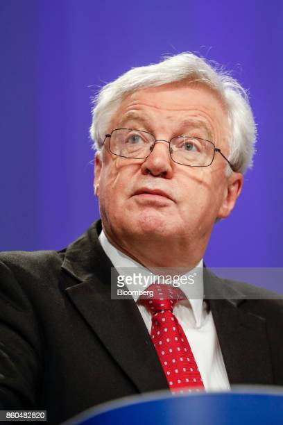 David Davis UK exiting the European Union secretary speaks during a news conference following Brexit negotiations in Brussels Belgium on Thursday Oct...