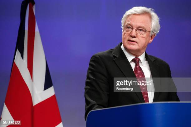 David Davis UK exiting the European Union secretary speaks during a news conference following Brexit talks in Brussels Belgium on Monday March 19...