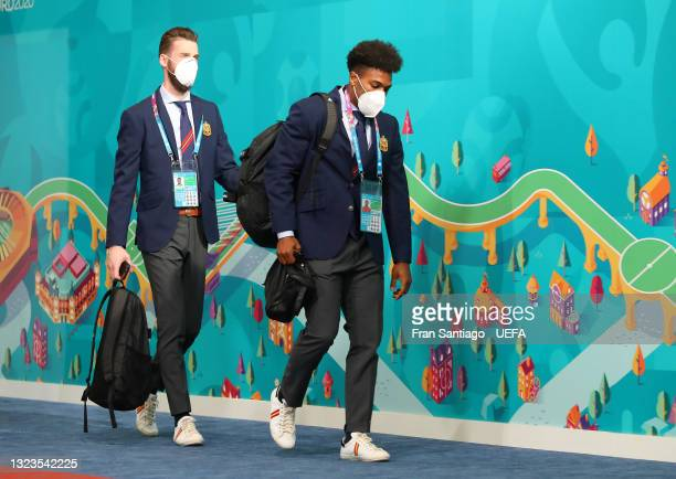 David de Gea and Adama Traore of Spain arrive at the stadium prior to the UEFA Euro 2020 Championship Group E match between Spain and Sweden at the...